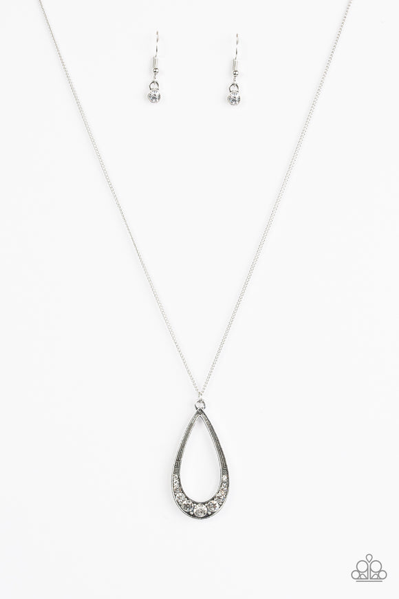 Paparazzi Teardrop Tease - White Necklace