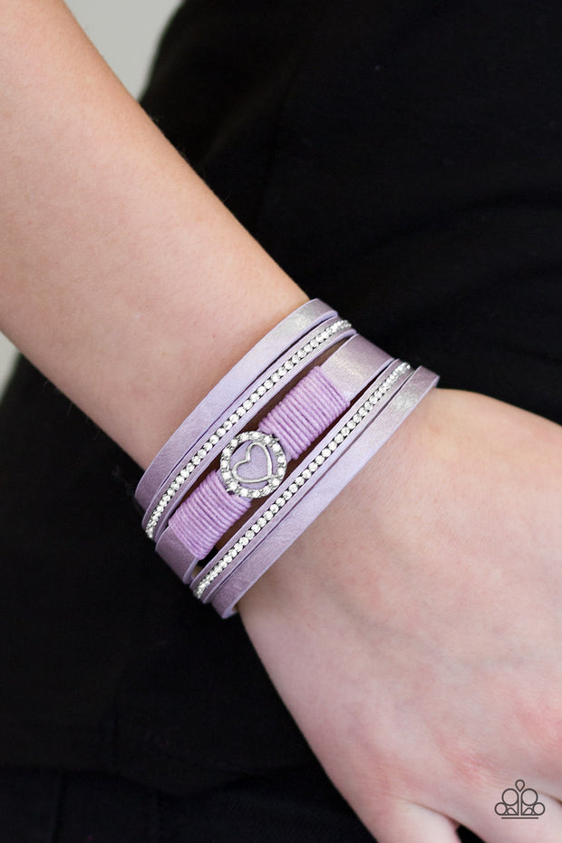It Takes Heart Purple Urban Bracelet - Glitzygals5dollarbling Paparazzi Boutique