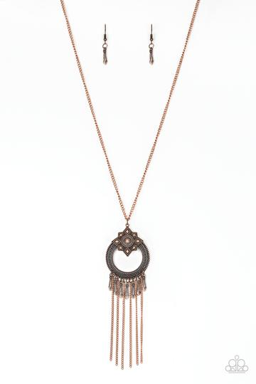 Paparazzi My Main MANTRA - Copper - Tassel Pendant - Necklace and matching Earrings