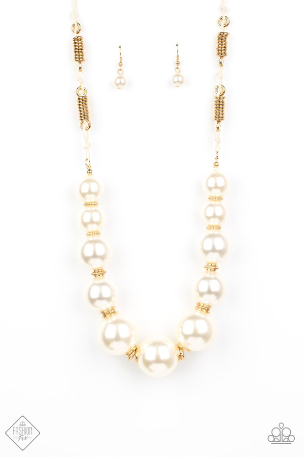 Pearly Prosperity - gold - Paparazzi necklace Fashion Fix Exclusive Necklace - Glitzygals5dollarbling Paparazzi Boutique