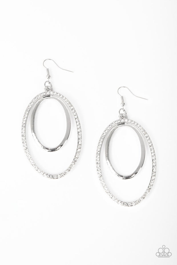 Wrapped in Wealth - white - Paparazzi earrings