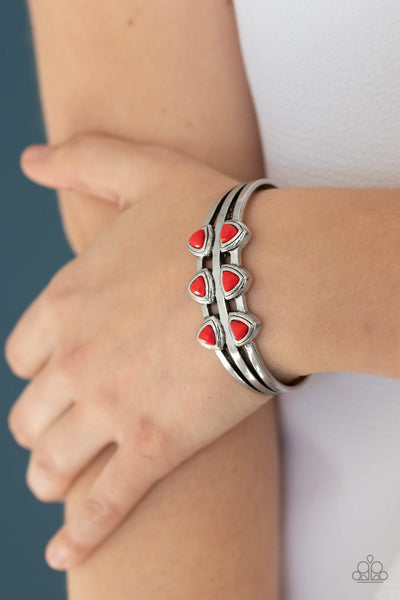 Paparazzi Tribal Triad - Red - Faceted Triangle Beads - Silver Cuff Bracelet - Glitzygals5dollarbling Paparazzi Boutique