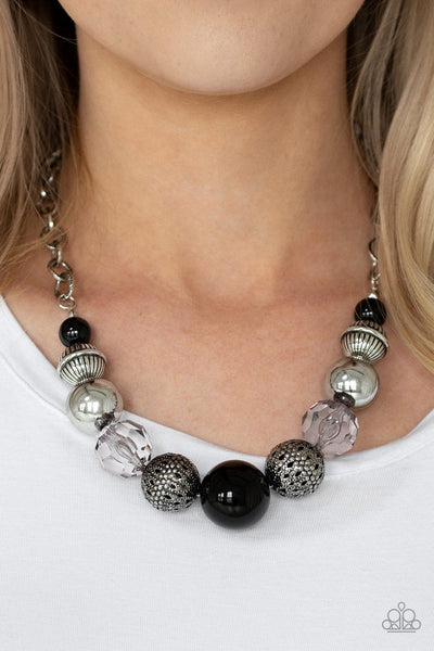 Paparazzi Sugar, Sugar - Black - Antiqued Silver, Glassy and Crystal Beads - Necklace and matching Earrings - Glitzygals5dollarbling Paparazzi Boutique