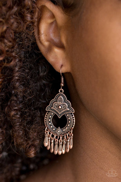Paparazzi New Delhi Native Copper Earrings