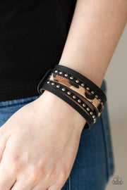 Paparazzi Born To Be WILDCAT - Brown - Fuzzy Cheetah - Thick Black Leather Band Bracelet