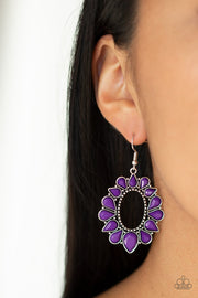 Paparazzi Fashionista Flavor - Purple - Teardrops - Silver Hoops Earrings