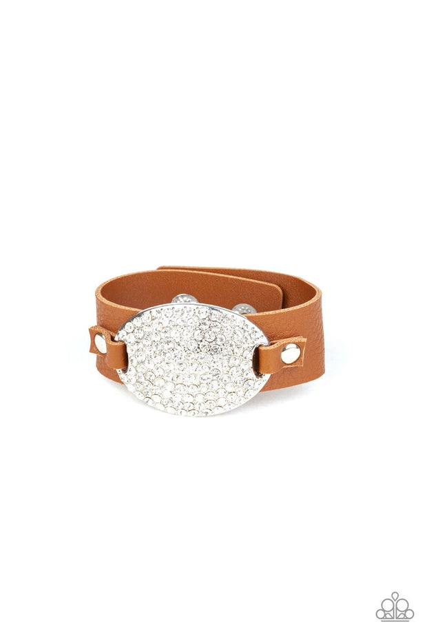 Paparazzi Better Recognize - Brown Leather Band - White Rhinestones - Bracelet - Glitzygals5dollarbling Paparazzi Boutique