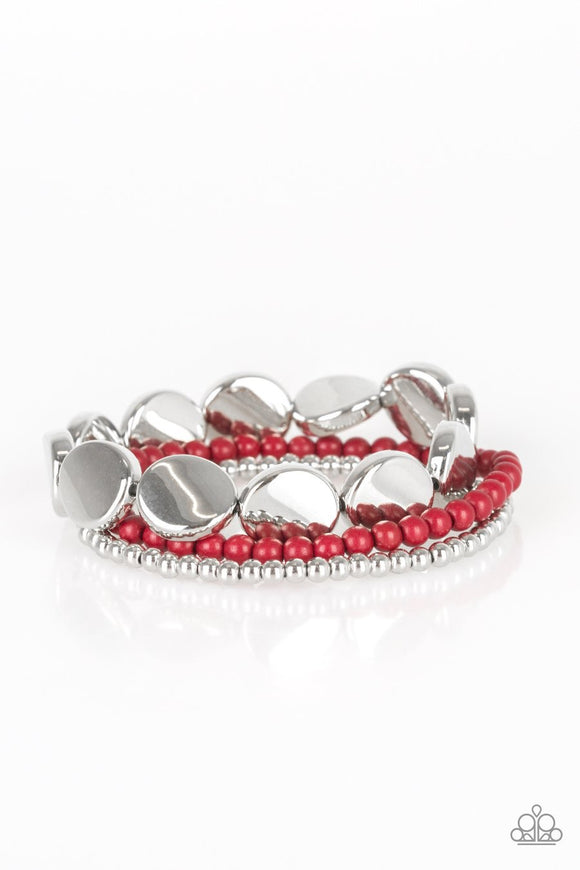 Paparazzi Beyond The Basics - Red Beads - Silver Stretchy Bands - Set of 3 Bracelets