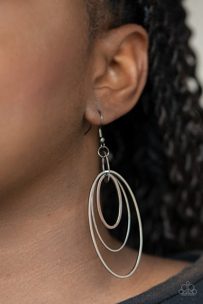 Shimmer Surge - black - Paparazzi earrings - Glitzygals5dollarbling Paparazzi Boutique