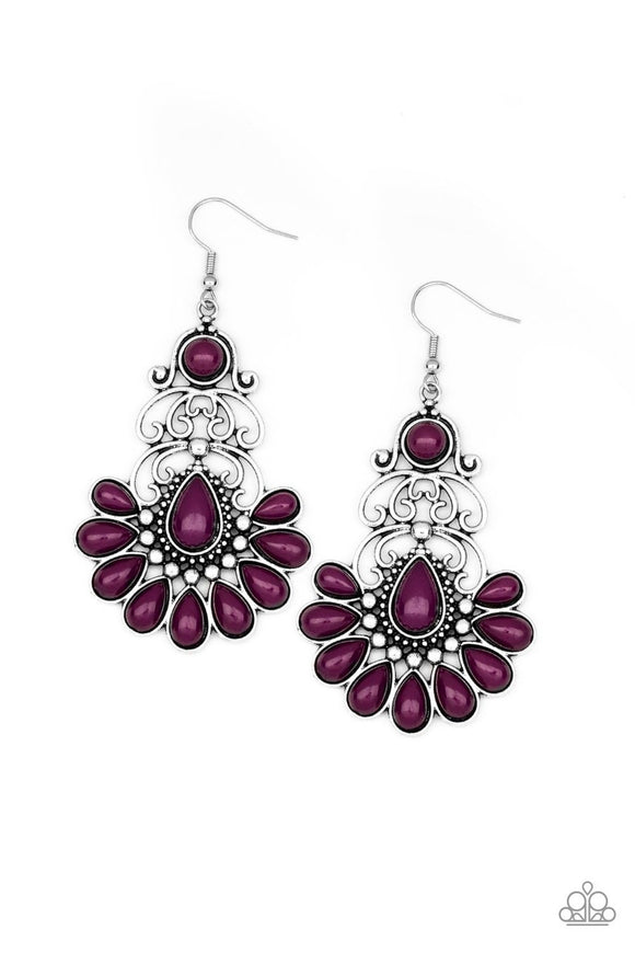 Paparazzi Paradise Parlor - Purple Beads - Ornate Silver Frame - Filigree Earrings