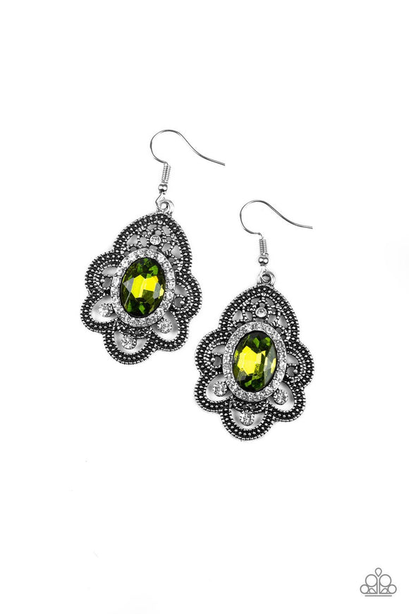 Paparazzi Reign Supreme - Green Rhinestones - Antiqued Silver Petals - Earrings