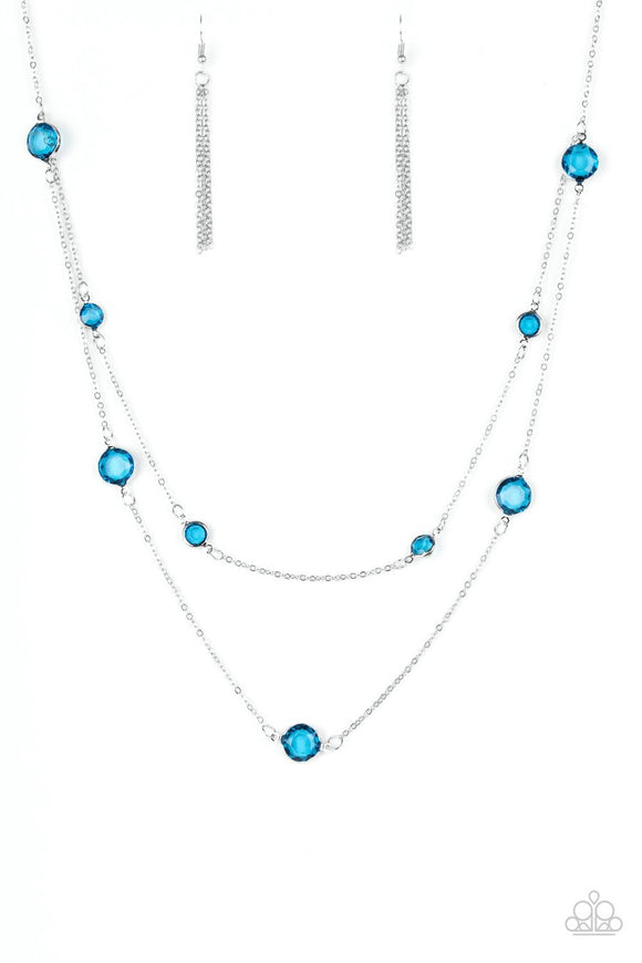 Paparazzi Raise Your Glass - Blue Gems - Necklace and matching Earrings