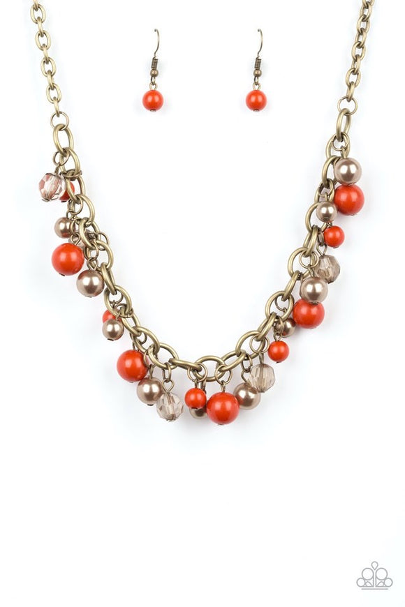 "Paparazzi ""The GRIT Crowd"" Orange Brass Necklace"