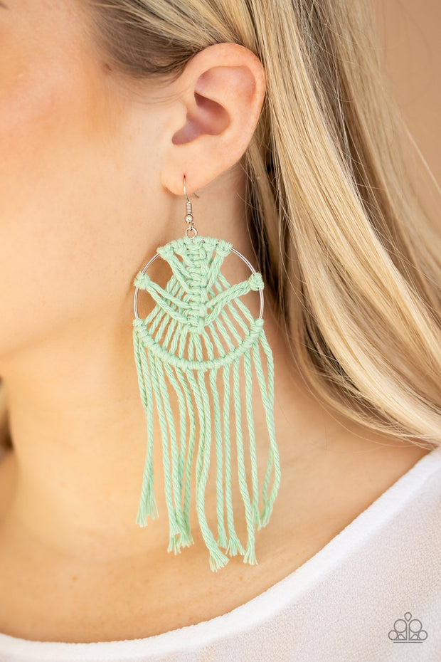 PREORDER Paparazzi MACRAME, Myself, and I - Green Earrings