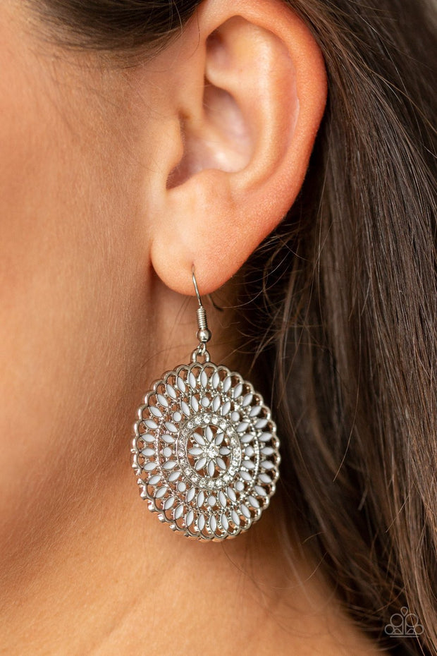 Paparazzi PINWHEEL and Deal - Silver - White Rhinestones - Earrings - Glitzygals5dollarbling Paparazzi Boutique