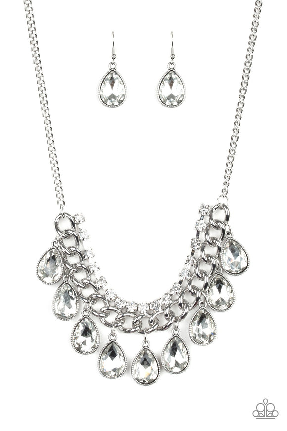 Paparazzi All Toget-HEIR Now - White - Teardrop Rhinestones - Bold Silver Chain - Necklace and matching Earrings