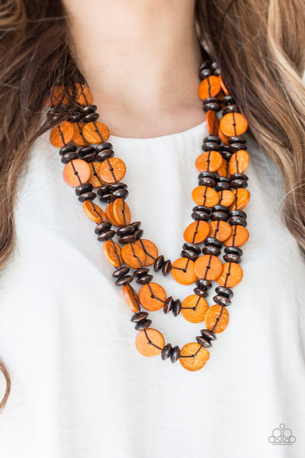 Key West Walkabout - Orange - Wooden Necklace and matching Earrings - Glitzygals5dollarbling Paparazzi Boutique