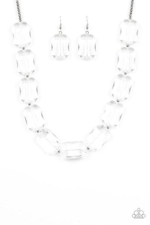 Paparazzi The ICE President - White - Emerald Cut Glassy Acrylic Beads - Silver Necklace and matching Earrings