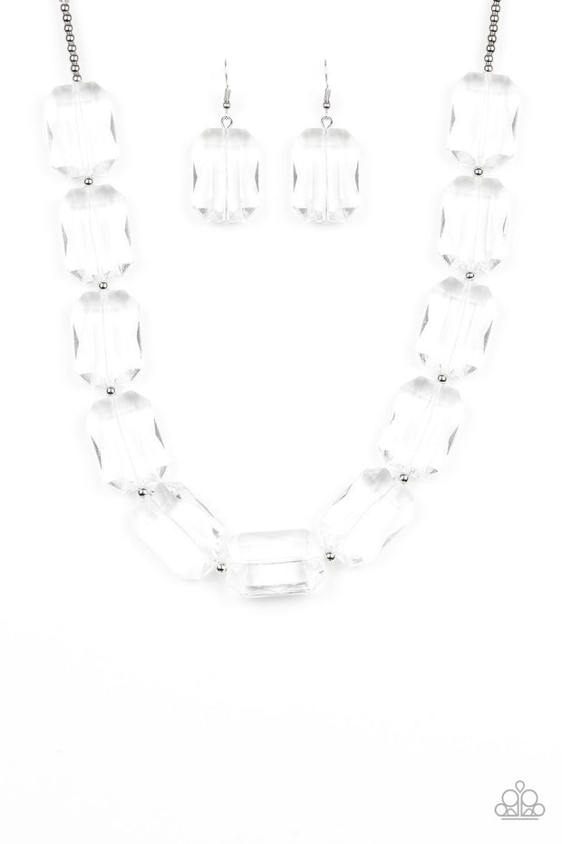 Paparazzi The ICE President - White - Emerald Cut Glassy Acrylic Beads - Silver Necklace and matching Earrings - Glitzygals5dollarbling Paparazzi Boutique