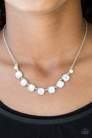 Paparazzi Deluxe Luxe - White Rhinestone - Silver Chain Necklace and matching Earrings