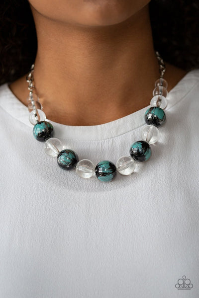 Paparazzi Torrid Tide - Blue - Necklace and matching Earrings - Glitzygals5dollarbling Paparazzi Boutique