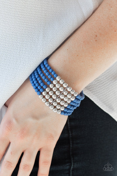 Paparazzi LAYER It On Thick - Blue Bracelet - Glitzygals5dollarbling Paparazzi Boutique