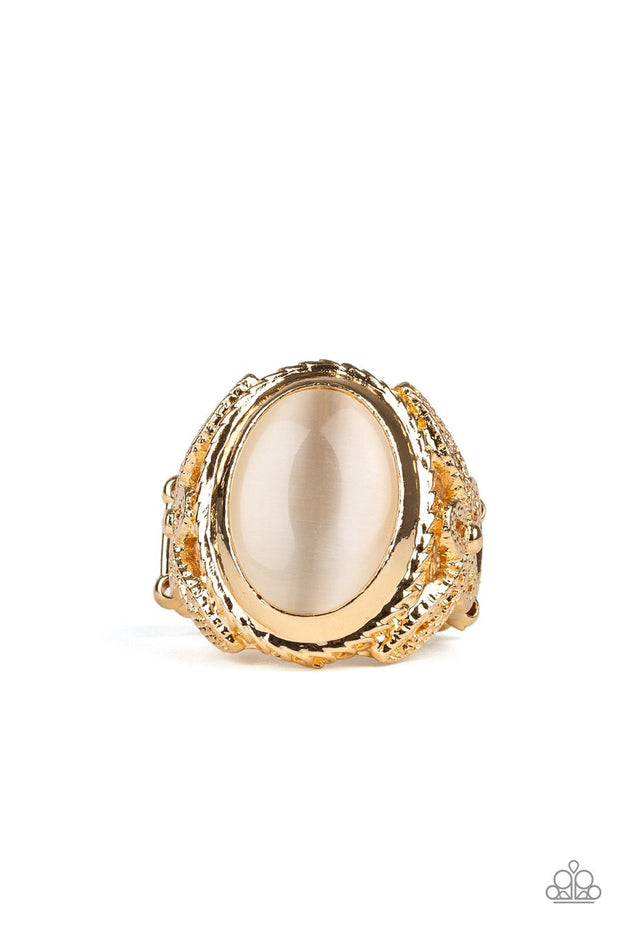 Paparazzi Deep Freeze - Gold - Cat's Eye Stone - Gold Filigree Flexible Fit Ring