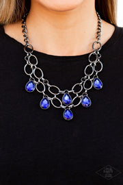 Paparazzi Show-Stopping Shimmer - Blue Gunmetal Black Exclusive Necklace - Glitzygals5dollarbling Paparazzi Boutique