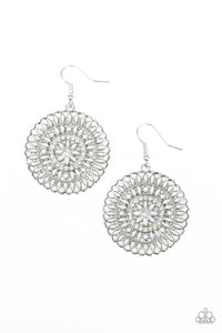 Paparazzi PINWHEEL and Deal - Silver - White Rhinestones - Earrings