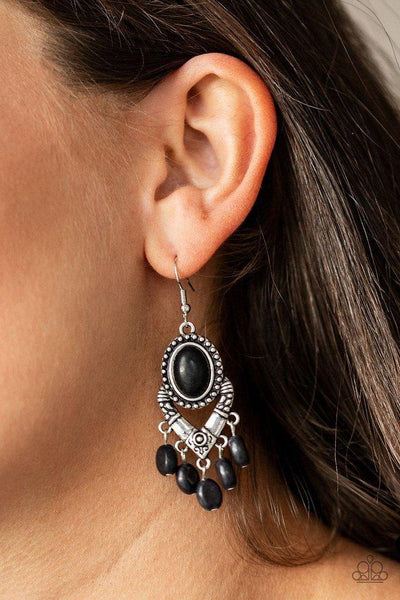 Paparazzi Southern Sandstone - Black Earrings - Glitzygals5dollarbling Paparazzi Boutique
