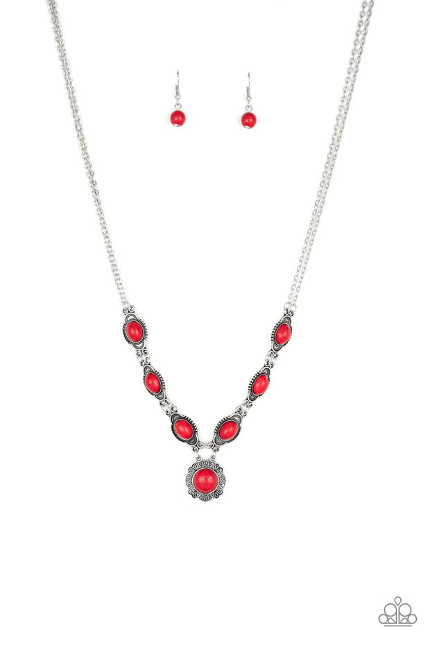 Paparazzi Desert Dreamin - Red - Embossed Filigree - Double Chain Necklace & Earrings - Glitzygals5dollarbling Paparazzi Boutique