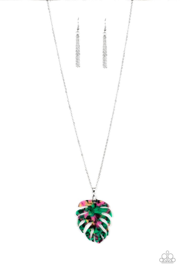 Paparazzi Prismatic Palms - Green - Acrylic Leaf Pendant - Necklace & Earrings
