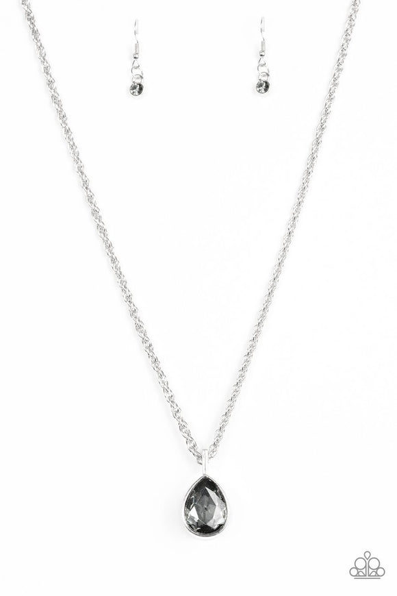 Million Dollar Drop - Silver Smoky Teardrop Gem - Silver Necklace and matching Earrings
