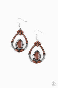 Paparazzi Vogue Voyager - Brown Beads - Silver Teardrop Earrings