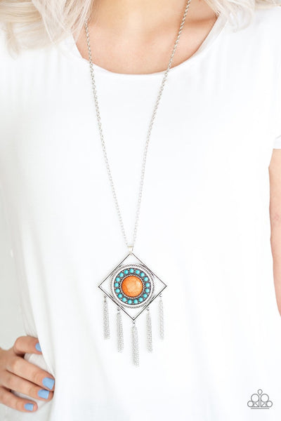 Paparazzi Sandstone Solstice - Multi - Orange and Turquoise Stones - Silver Necklace & Earrings - Glitzygals5dollarbling Paparazzi Boutique