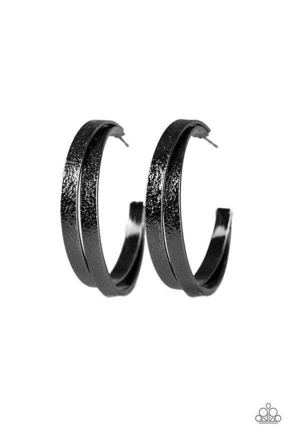Paparazzi High-Class Shine Black Gunmetal Hoop Earrings