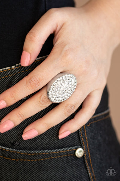 Paparazzi Bling Scene White Ring - Glitzygals5dollarbling Paparazzi Boutique