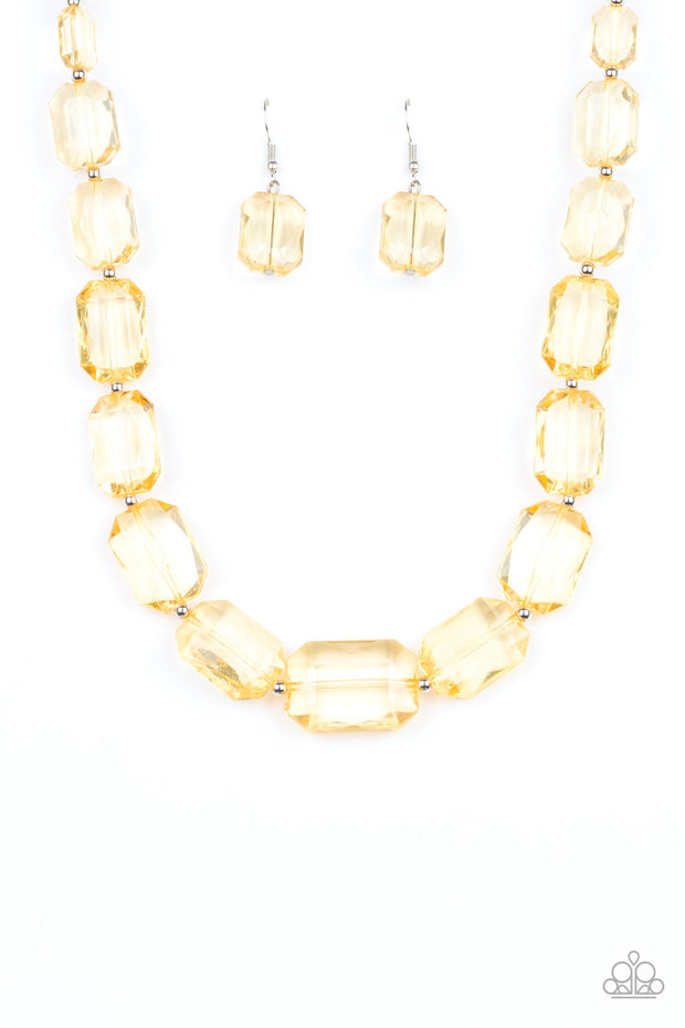 "Paparazzi ""Ice Versa"" Yellow Necklace - Glitzygals5dollarbling Paparazzi Boutique"