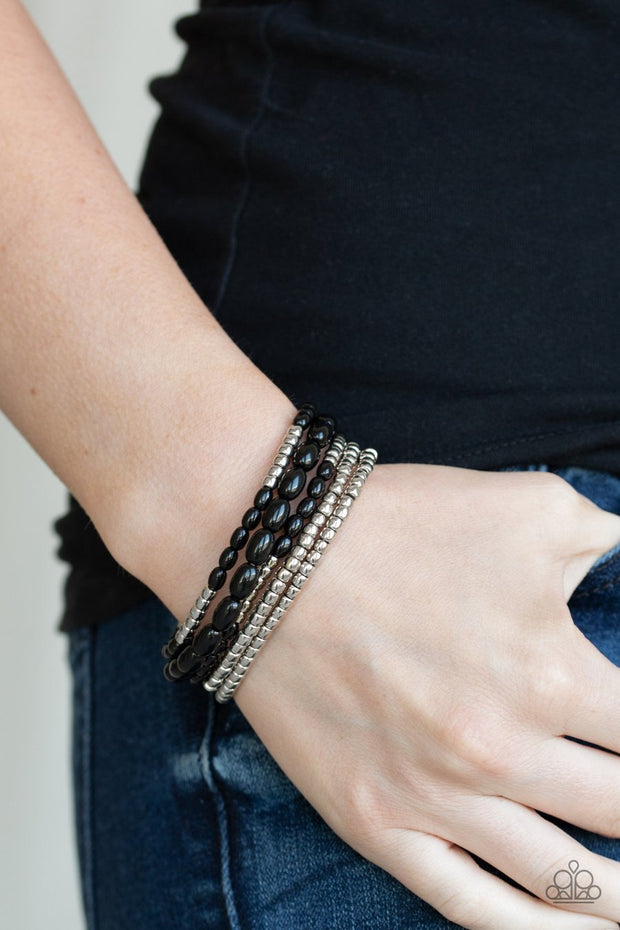 Paparazzi Meet and Mingle - Black - and Silver Beads - Set of 5 Bracelets - Glitzygals5dollarbling Paparazzi Boutique