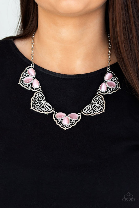Paparazzi East Coast Essence - Pink - Moonstone - Necklace & Earrings