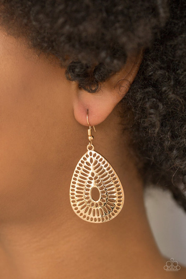 Paparazzi You Look GRATE! - Gold Teardrop Earrings - Glitzygals5dollarbling Paparazzi Boutique