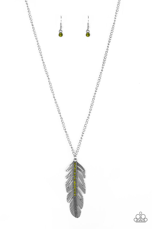 Paparazzi Sky Quest Green Feather Necklace
