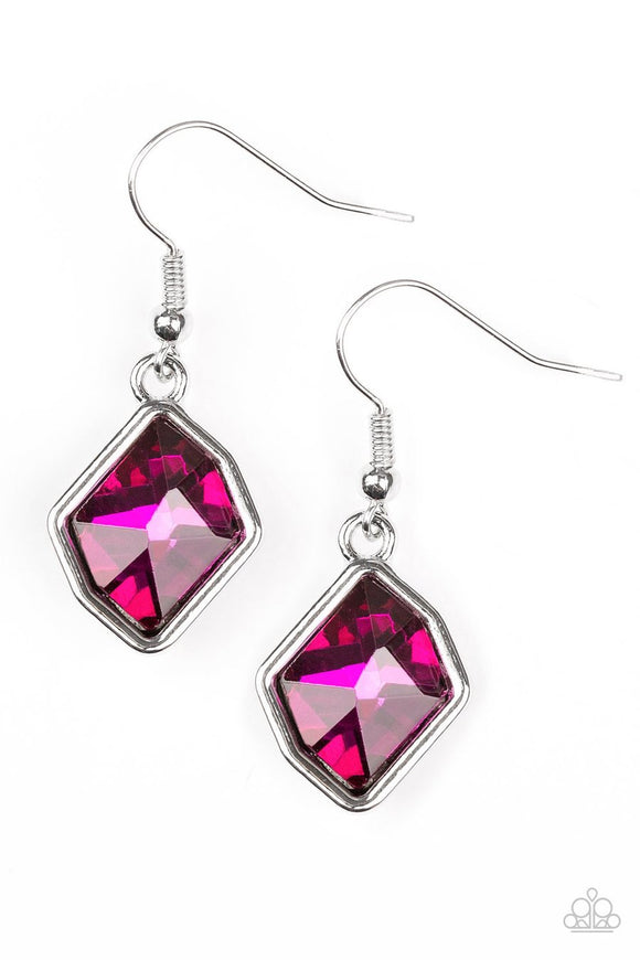Paparazzi Glow It Up - Pink Gem - Earrings