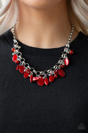 Paparazzi I Want To SEA The World - Red - Bold Silver Chain Necklace & Earrings - Glitzygals5dollarbling Paparazzi Boutique