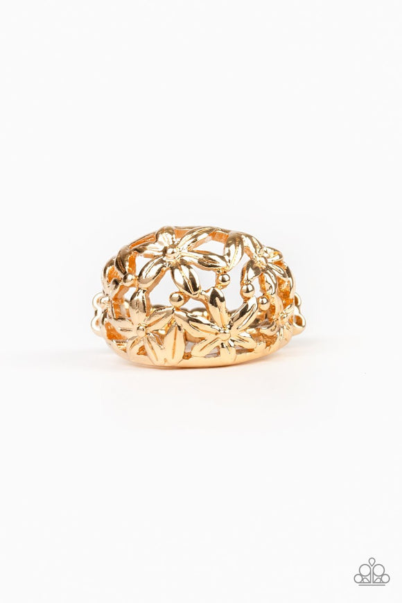 Paparazzi Haute Havana - Gold - Flowers Bloom - Ring