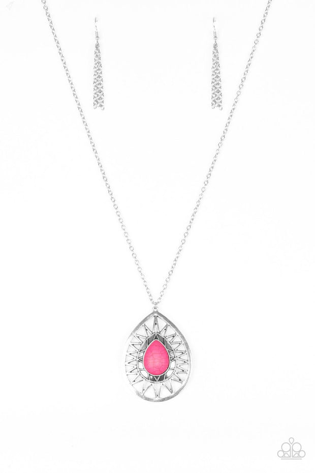 Paparazzi Summer Sunbeam - Pink Stone - Silver Necklace and matching Earrings - Glitzygals5dollarbling Paparazzi Boutique