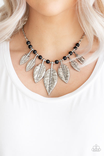 Paparazzi Highland Harvester black feather leaf Necklace - Glitzygals5dollarbling Paparazzi Boutique
