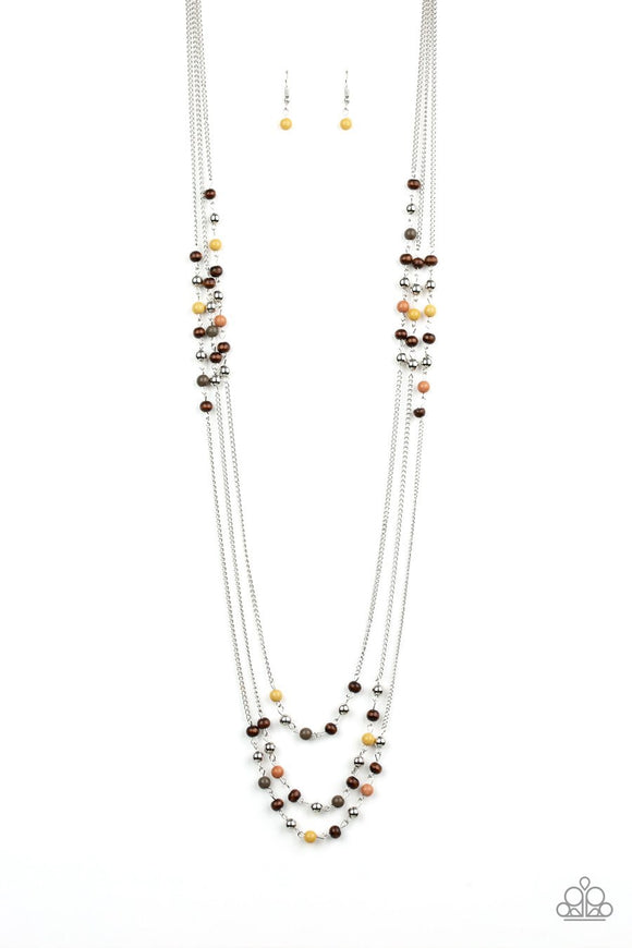 Paparazzi Seasonal Sensation - Multi - Brown, Aspen Gold, Moss and Wooden Beads - Necklace