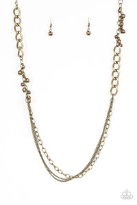 Paparazzi Mega Megacity - Brass - Beads and Chains - Necklace and matching Earrings