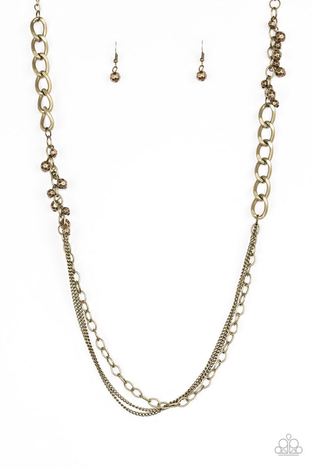 Paparazzi Mega Megacity - Brass - Beads and Chains - Necklace and matching Earrings - Glitzygals5dollarbling Paparazzi Boutique